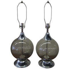 Sexy Pair Of 1970's Chrome Fiber Optic Globe  Lamps Mid-century Modern