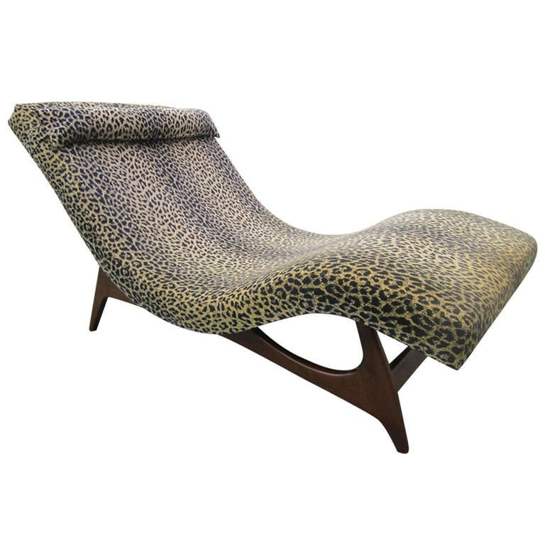 Sleek adrian pearsall wave chaise lounge chair mid century for Mid century modern chaise lounge chairs