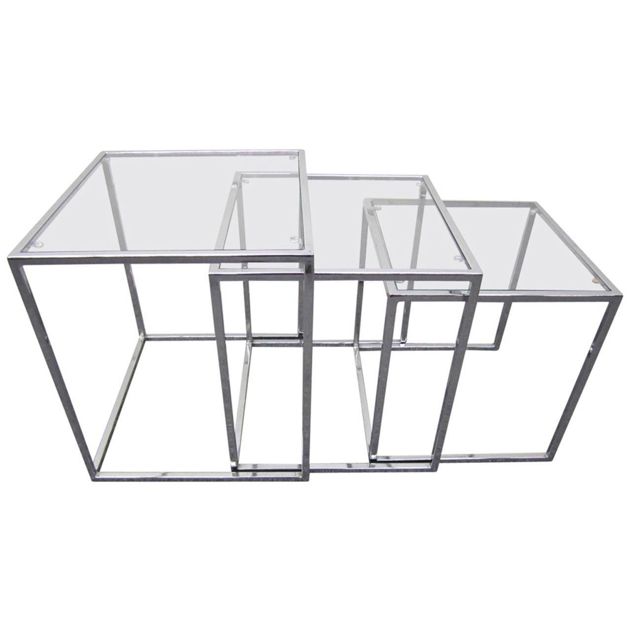 Fantastic Set of Milo Baughman Chrome Nesting Tables Mid-Century Modern