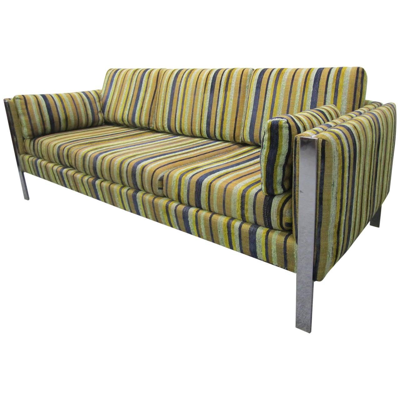 Excellent Milo Baughman Chrome Leg Sofa