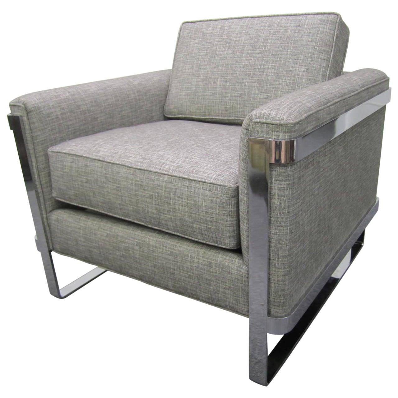 Charmant Excellent Chrome Flat Bar Lounge Chair, Mid Century Modern