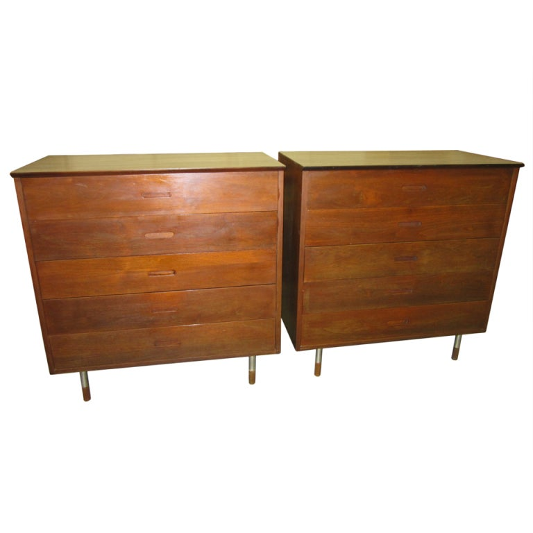 Pair of Walnut Tall Chest Dressers Mid-Century Modern