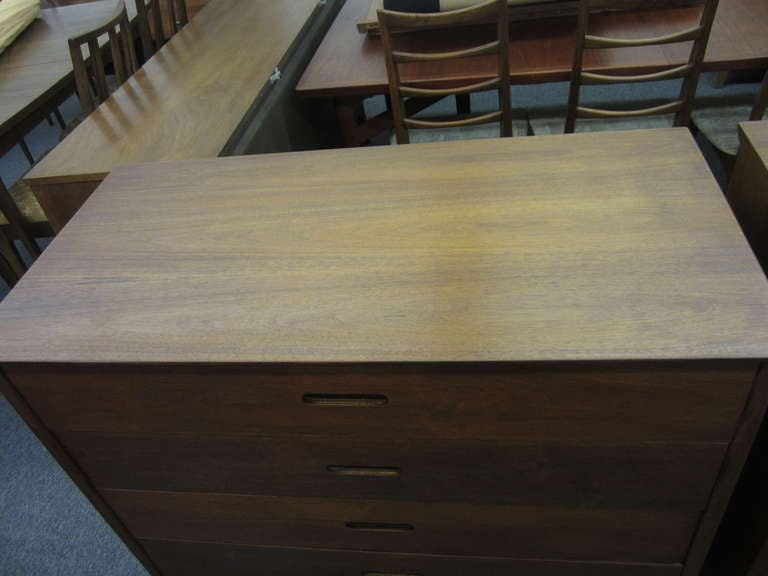 Danish Pair of Walnut Tall Chest Dressers Mid-Century Modern For Sale