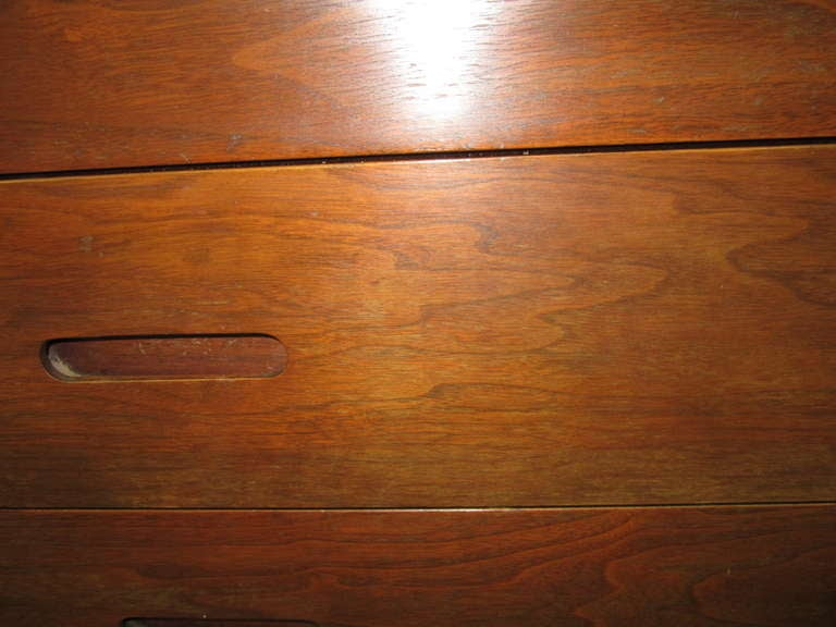 Pair of Walnut Tall Chest Dressers Mid-Century Modern For Sale 4