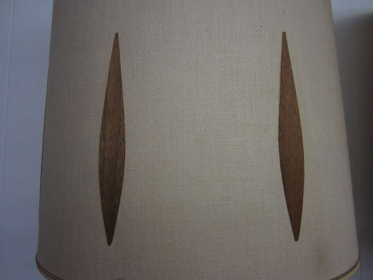 Wood Pair Of Walnut And Brass Laurel Lamps With Original Shades Mid-century Danish  For Sale