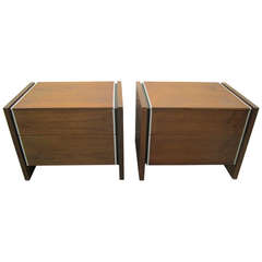 Pair Milo Baughman style Glenn of California Walnut Night Stands, Mid-Century
