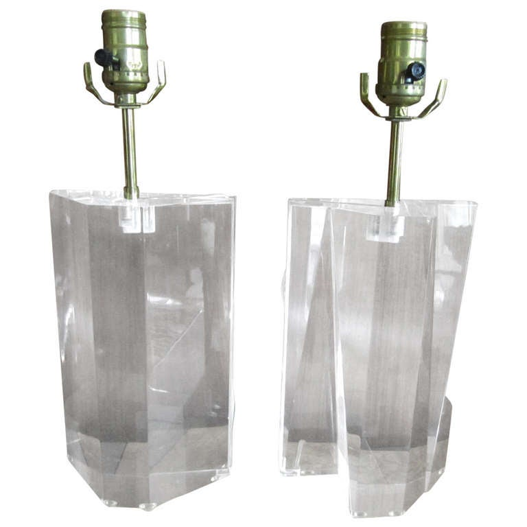 Gorgeous Pair of Petite Solid Lucite Prismatic Lamps Hollywood Regency