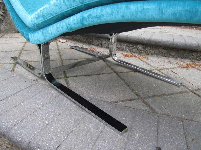 Upholstery Amazing Harvey Probber Chrome Chaise Longue for Brayton International For Sale