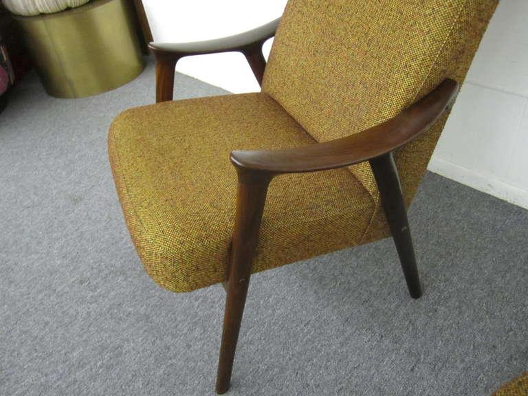 Danish Modern Scoop Arm Walnut Lounge Chair with Adjustable Ottoman at 1stdibs