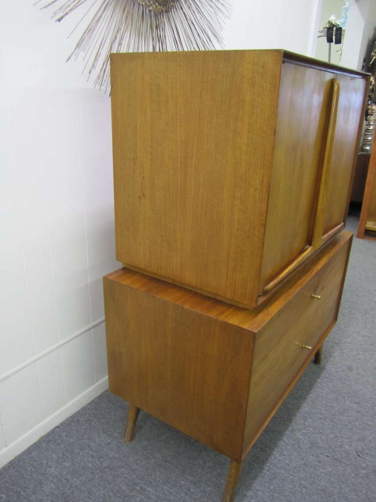 American Wonderful Vladimir Kagan Style Sculptural Walnut Tall Dresser Mid-Century Modern For Sale