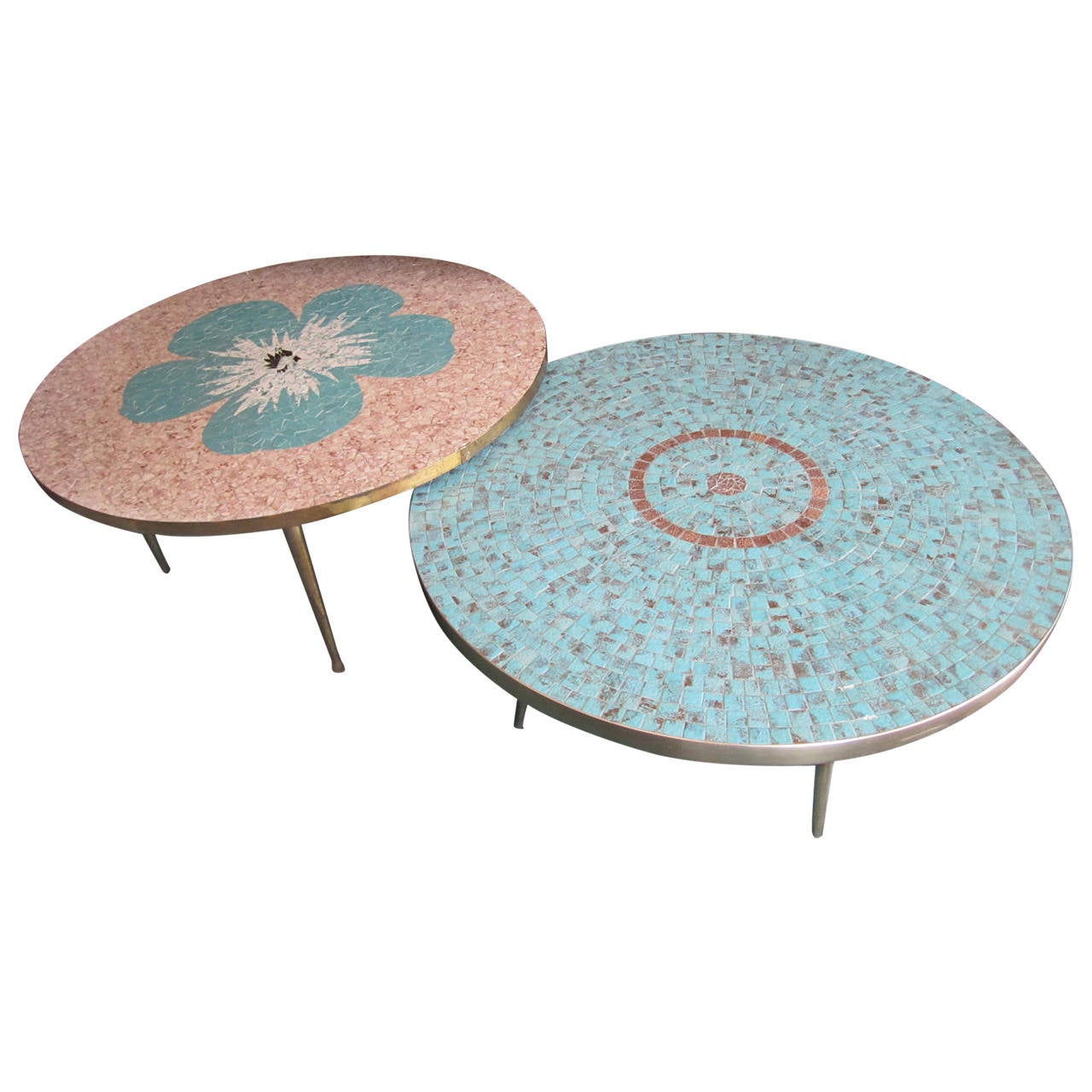 Stunning Mosaic Tile Top Circular Coffee Tables, Mid Century Modern