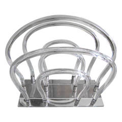 Dorothy Thorpe Lucite, Chrome and Mirror Magazine Rack