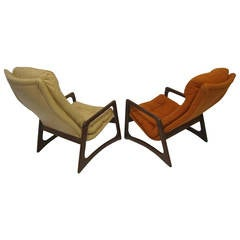 Sculptural Pair of Adrian Pearsall Walnut Lounge Chairs Mid-Century Modern