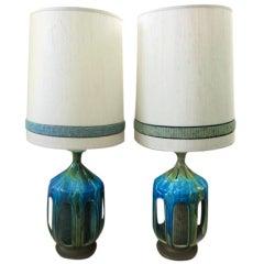 Pair of Large Turquoise Drip Glaze Midcentury Lamps Original Shades