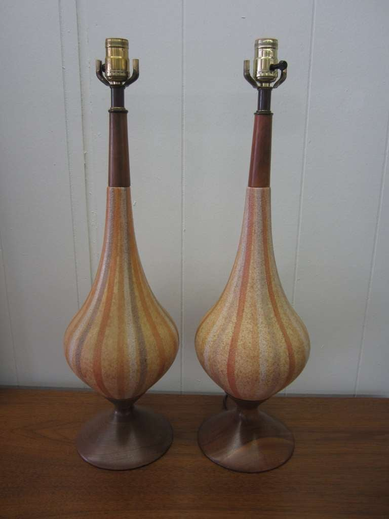 Pair Of Italian Ceramic Lamps Mid Century Danish Modern At
