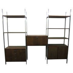 Milo Baughman Style Three Bay Wall Unit Founders Mid-Century Modern