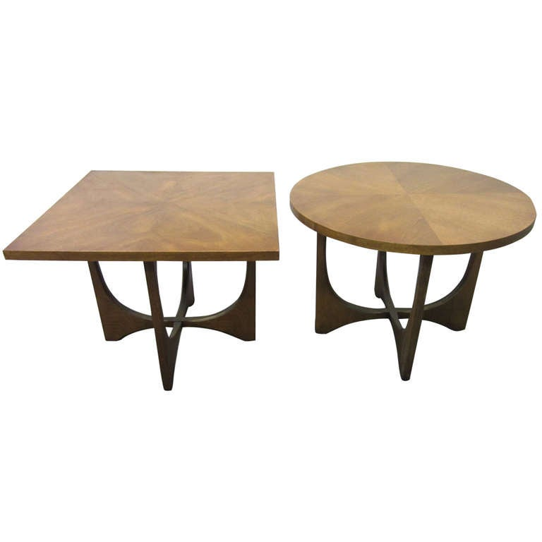 Small Mid Century Modern End Tables: Pair Broyhill Brasilia Round And Square End Tables Mid