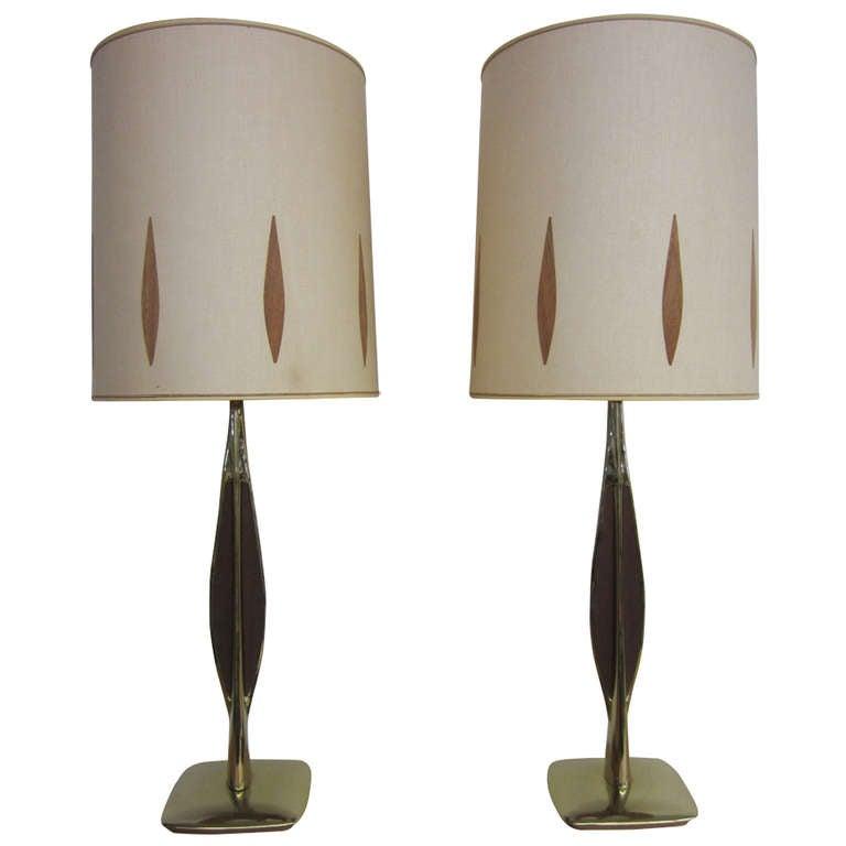 Pair Of Walnut And Brass Laurel Lamps With Original Shades Mid-century Danish