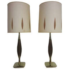 Pair Of Walnut And Brass Laurel Lamps With Original Shades Mid-century Danish