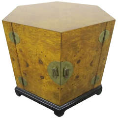 Stunning Chinoisiere Olivewood Octagon End Table, Mid-Century Modern