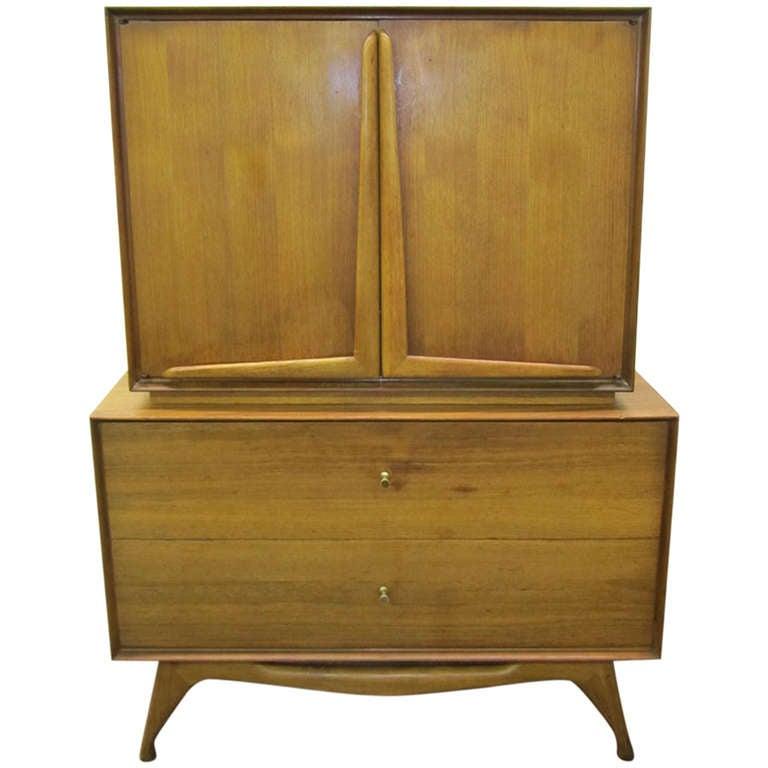Wonderful Vladimir Kagan Style Sculptural Walnut Tall Dresser Mid-Century Modern For Sale