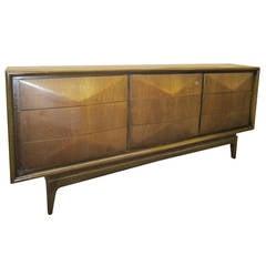 Three-Dimensional Diamond Front Walnut Credenza, Mid-Century Modern Dresser