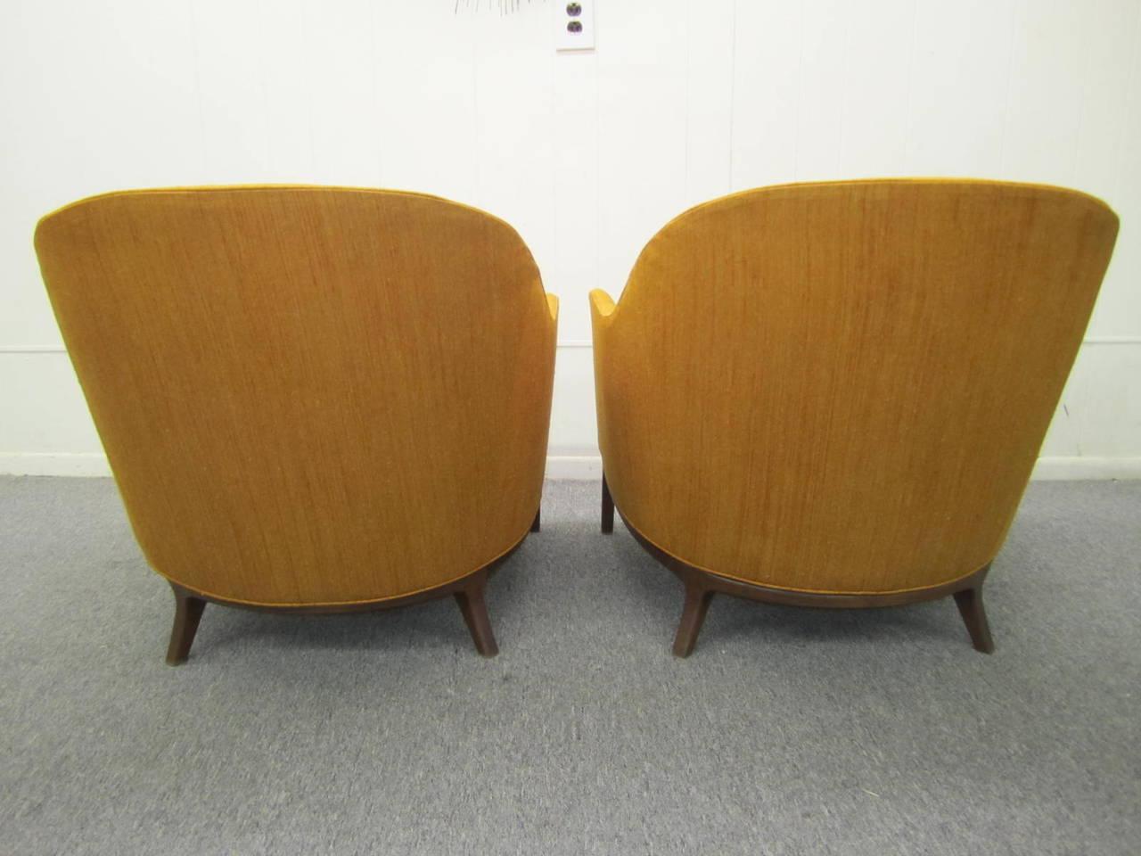 Harvey Probber Style Barrel Back Walnut Lounge Chairs Mid