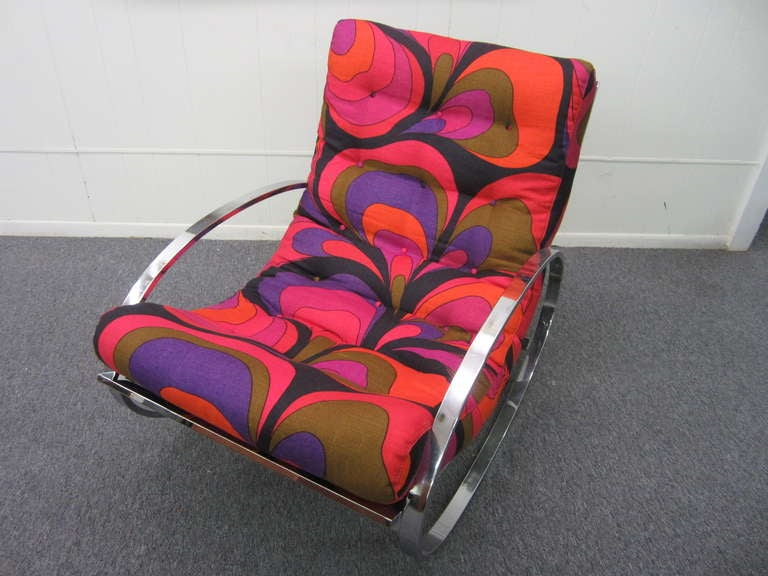 Milo Baughman Chrome Rocking Chair with vintage Pucci linen Mid-century Modern In Excellent Condition In Pemberton, NJ