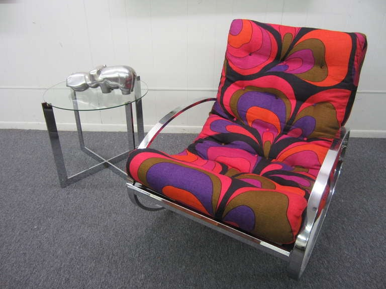 Milo Baughman Chrome Rocking Chair with vintage Pucci linen Mid-century Modern 4