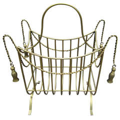 Fabulous Large Scale Gilded Tassle Magazine Rack Hollywood Regency Glam