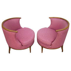 Lovely Pair of Hollywood Regency Barrel Back Lounge Chairs