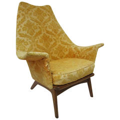 Fabulous Adrian Pearsall Wing Back Walnut Lounge Chair Mid-Century Modern