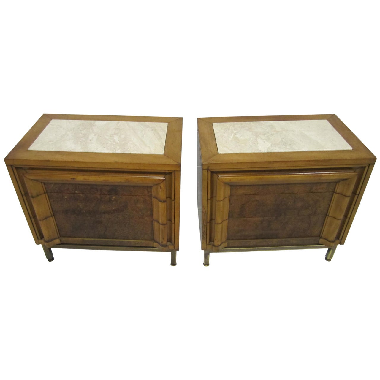 Pair of Mastercraft Style Burled Walnut and Limestone Night Stands