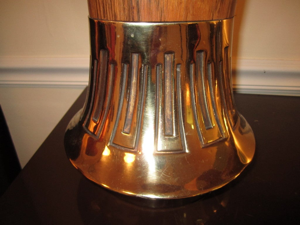 Pair Of Rosewood And Brass Tall Laurel Lamps Mid-century Danish In Good Condition For Sale In Pemberton, NJ