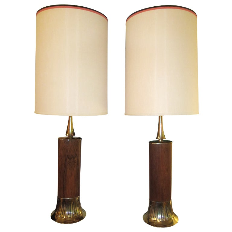 Pair Of Rosewood And Brass Tall Laurel Lamps Mid-century Danish