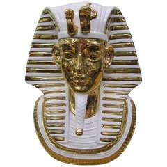 Egyptian King Tut Italian Ceramic Sculpture Bust Hollywood Regency