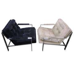 Milo Baughman Style Chrome Flat Bar Lounge Chairs, Mid-Century Modern