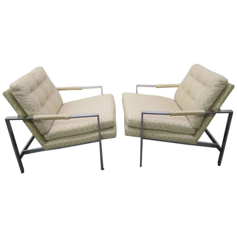 Marvelous Stunning Pair Of Milo Baughman Chrome Cube Chairs, Mid Century Modern 1