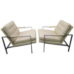 Stunning Pair of Milo Baughman Chrome Cube Chairs, Mid-Century Modern
