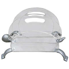 Arthur Court Turtle Aluminum and Lucite Magazine Rack Regency Modern