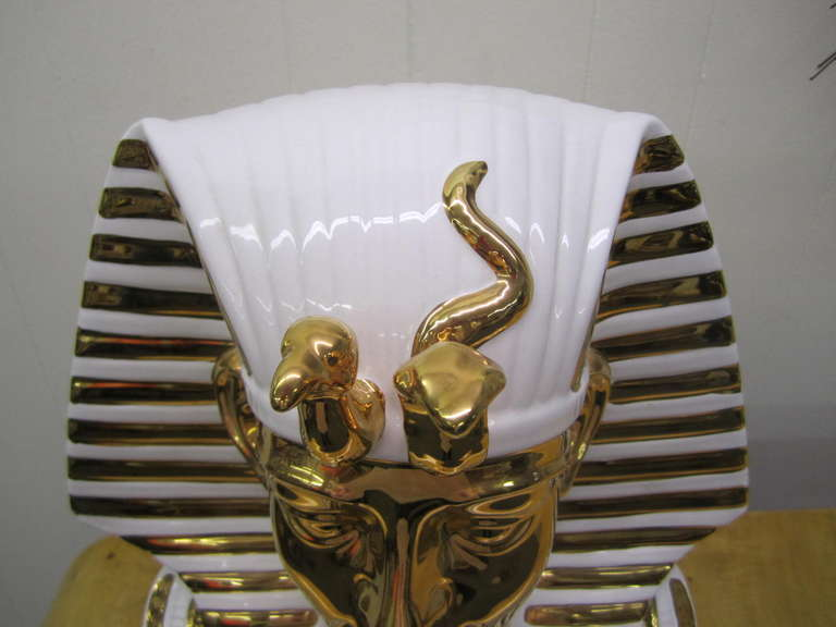 Egyptian King Tut Italian Ceramic Sculpture Bust Hollywood Regency For Sale 2