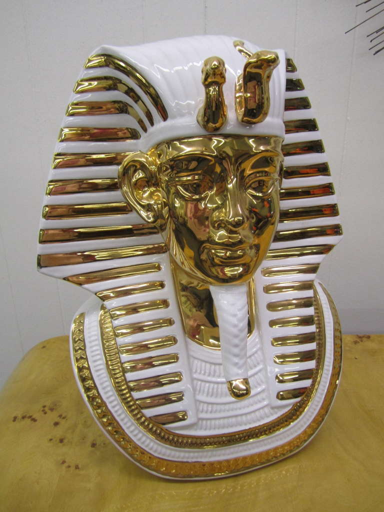 Stunning regency modern Egyptian King Tut Italian ceramic sculpture bust.  This piece is quite large and impressive in person-it came from a million dollar Long Island estate loaded with gorgeous vintage pieces.