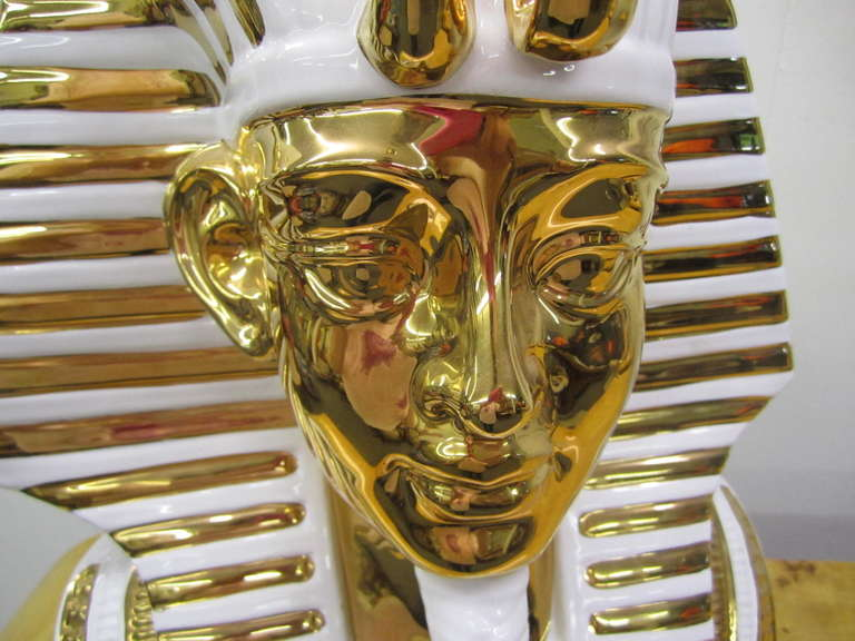 Egyptian King Tut Italian Ceramic Sculpture Bust Hollywood Regency For Sale 3