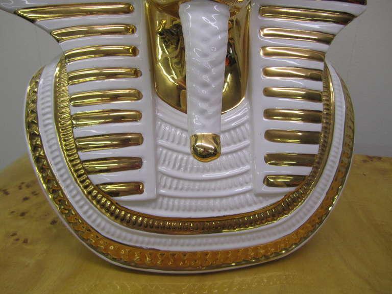 Egyptian King Tut Italian Ceramic Sculpture Bust Hollywood Regency For Sale 4