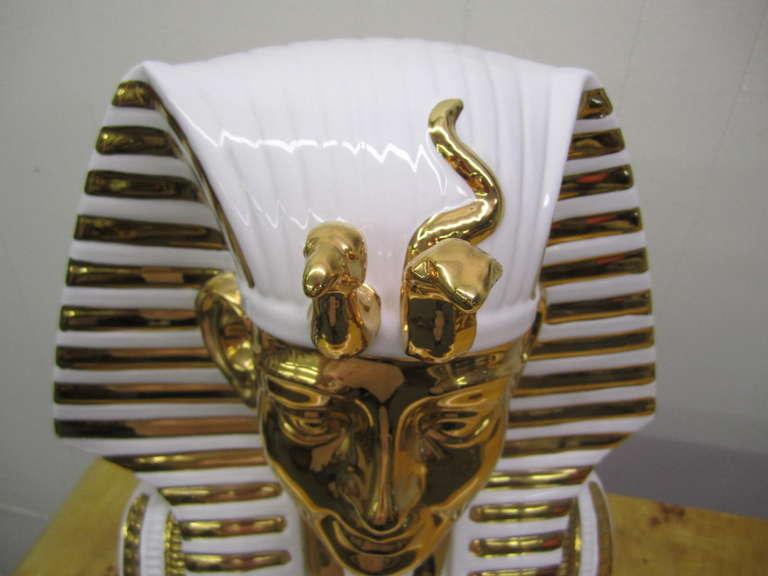 Egyptian King Tut Italian Ceramic Sculpture Bust Hollywood Regency For Sale 6