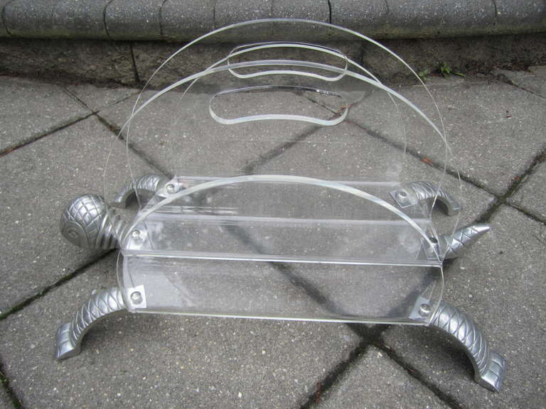 Whimsical Arthur Court turtle aluminum and lucite magazine rack.  This is a must have for Arthur Court collectors or anyone who love to display their magazines in a stylish fun way!  This is probably one of the top 10 things i can not live without.