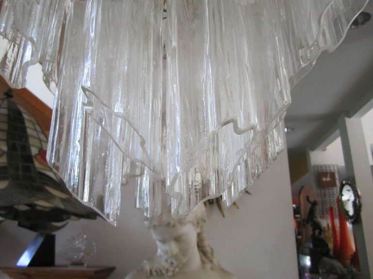 Mid-Century Modern Gorgeous Italian Venini Murano Tronchi Tube Chandelier Camer For Sale