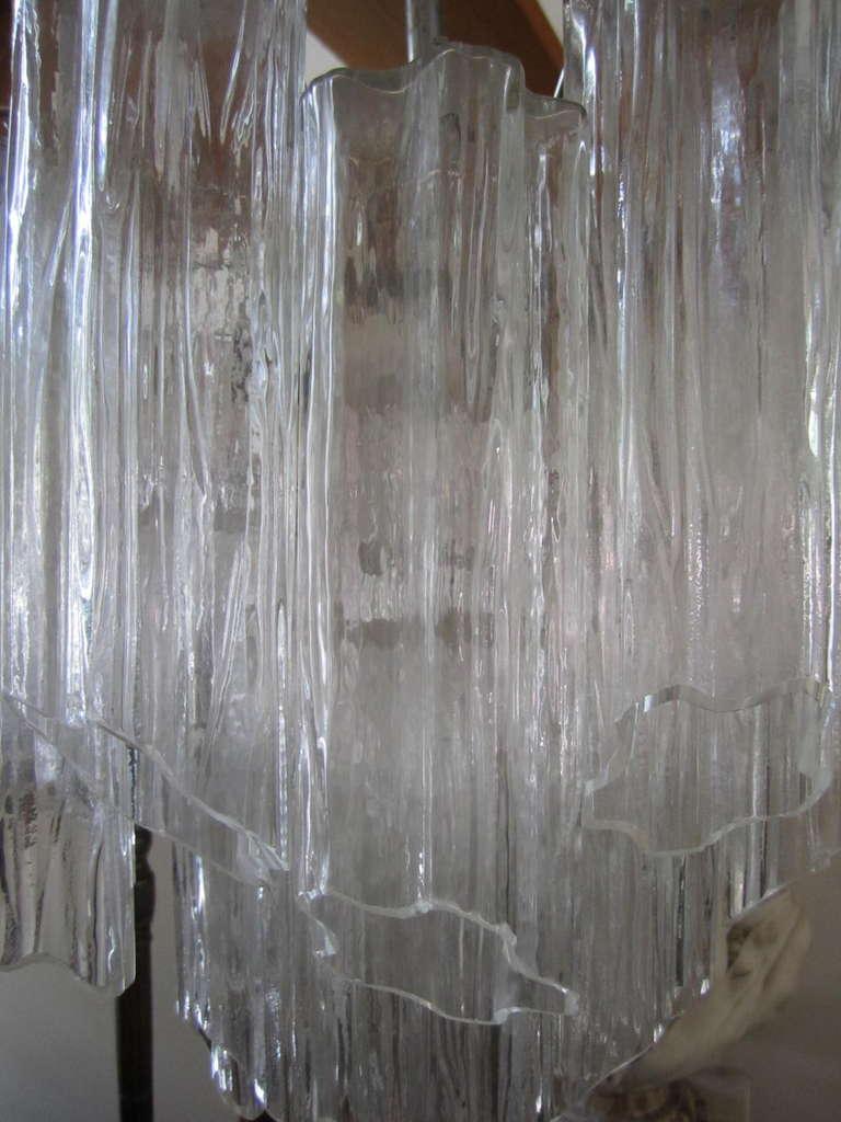 Mid-20th Century Gorgeous Italian Venini Murano Tronchi Tube Chandelier Camer For Sale