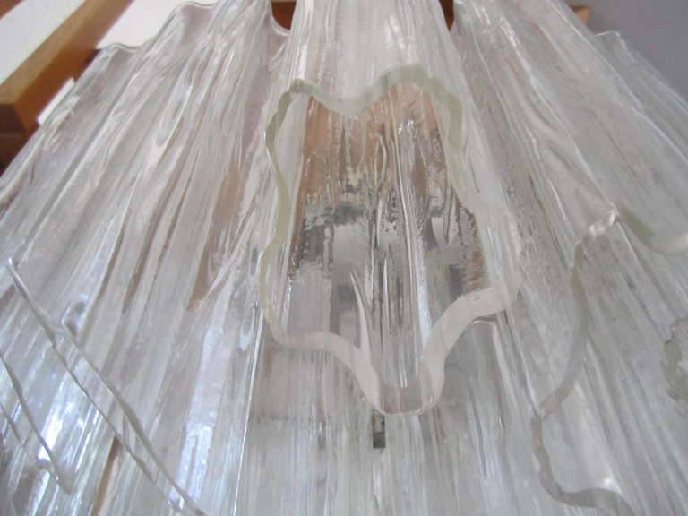 Murano Glass Gorgeous Italian Venini Murano Tronchi Tube Chandelier Camer For Sale