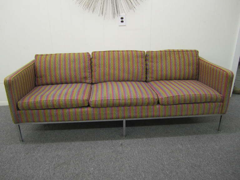 Fantastic signed Milo Baughman chrome leg 3 seater sofa.  I love the style of the long thin arms along with the fabulous chrome frame.  This piece is perfect for a restyle or to use as is and of-course no doubt it was designed by yours and my